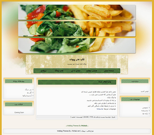 دانلود کد قالب وبلاگ آموزش غذا 1462